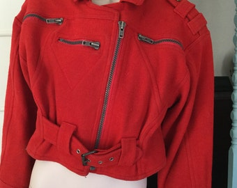 80s style red wool bomber jacket