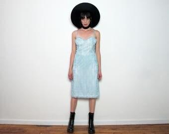 Baby BLUE LACE Vintage LINGERIE Slip Dress Delicate Womens Size M/L