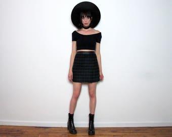 10 DOLLAR SALE BLACK Check Mini Skirt High Rise Waist 90s Grid Womens Size 28/29