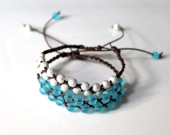 2 Braided Leather Bracelet with Blue and Silver Beads, Friendship Bracelet, Boho, Stackable