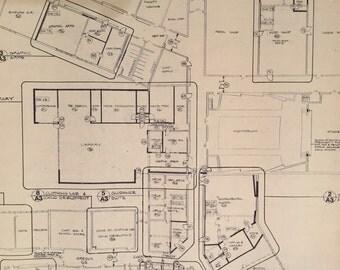 Lot of 1970s Blueprints - High School Blueprints - Set of 25 - Great Industrial Art