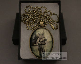 Cat in Clothes Animal Pendant with Long Chain and Box, Pet Lover Jewelry, Unusual Necklace, Cat Art