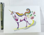 Unicorn Farts, Ready to Ship 5x7 greeting card, Collaboration with Long Winter Farm