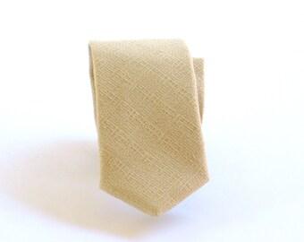 European cream beige necktie. Linen look wrinkle resistant tan tie