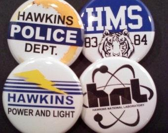 Stranger Things Button OR Magnet Set- HAWKINS