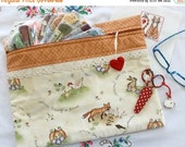 SALE In The Garden Cross Stitch, Sewing, Embroidery Project Bag
