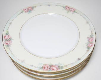 Antique Signed Victoria Austria Painted Rose Porcelain Opalescent Lusterware Plates, Antique Austria Porcelain Plates, Austrian Porcelain