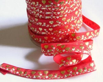 "Valentine's Day FOE 5 yards of 5/8"" Fold Over Elastic Red with White and Gold Foil Hearts Print for Headband Connector Party Favor Ties"