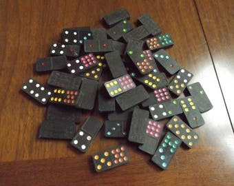 Vintage Wooden Domino Game Pieces Lot 49 Vintage Wooden Dominoes Lot of vintage wooden game pieces  49 pieces in total.