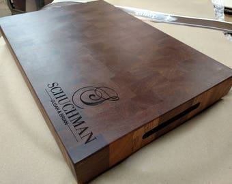 Personalized Engraved Mahogany Cutting Board Butcher Block Sapele Hardwood FREE USA SHIPPING
