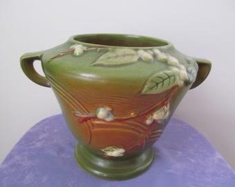 Vintage Roseville Pottery Snowberry Green Jardinere, Bowl, Vase, Pottery Pot 1RB-6