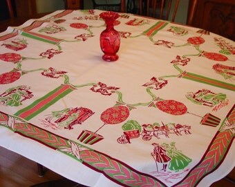 Vintage Tablecloth Novelty Early American Colonial Graphics, Pink,Green,Maroon Fun & Unusual
