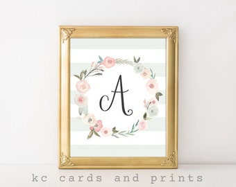 Nursery Wall Art, Nursery Monogram, Wedding Monogram, Letter A, Floral, Monogram Wall Art, Wall Decor, A Initial, Digital Print