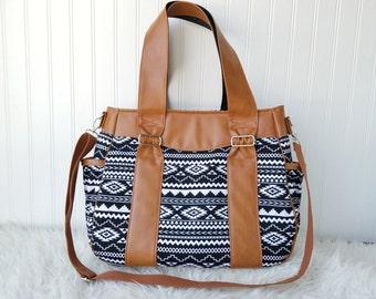 Black Aztec Evelyn Diaper Bag