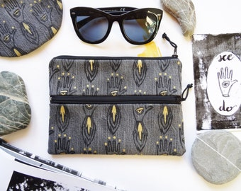 Grunge Gold double zip pochette in grey jeans and black leather  with  handprinted firehand and handpainted gold decoration