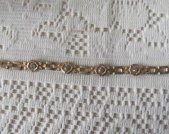 Vintage Gold Filled Bracelet Aqua Blue Rhinestones