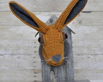 Crochet Faux Taxidermy Hare Trophy Mount