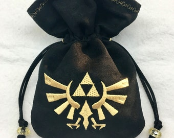 LEGEND OF ZELDA - Mini Faux Suede Embroidered Pouch for Dice, Runes, LaRp accessory