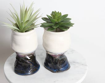 Vintage Ceramic Traveling Cups/ Planters/ Ceramic Cups Set of 2