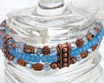 Blue Glass Bead and Copper Bracelet, Triple Strand Bead and Copper Bracelet, FREE SHIPPING, OOAK, Mango Tease, Southwestern Boho Jewelry