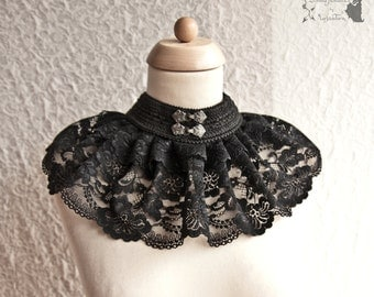 Choker goth, Victorian, Steampunk, black lace, Somnia Romantica, size large - extra large see item details for measurements