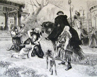 Antique Fine Art Print King Wenzel Raging 1893 Columbian Exposition Fritz Roeber Etched by Gaston Manchon Chicago World's Fair