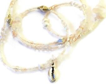 Rose Quartz Cowrie Waistbeads, African Rose Quartz Waist Beads, Pink Cowry Waistbeads, Love-Romance Belly Chain