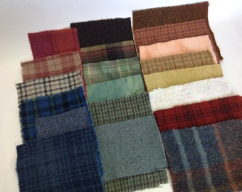 Country Colors Wool Scraps, 20 pieces, for Applique and Craft projects, W256, Textures, Plaids, Hand Dyed, LAST ONE