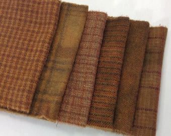 Saddle Browns, 6) Fat Sixteenths, Hand Dyed Wool Fabric for Rug Hooking and Applique,  W316, Medium Brown Textures