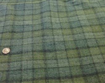 Fat 1/4 Yard, Rug Hooking and Appliqué Wool Fabric, Mill Dyed, Meadow Green plaid, W340, Blue Green Waters, Blue Green Plaid