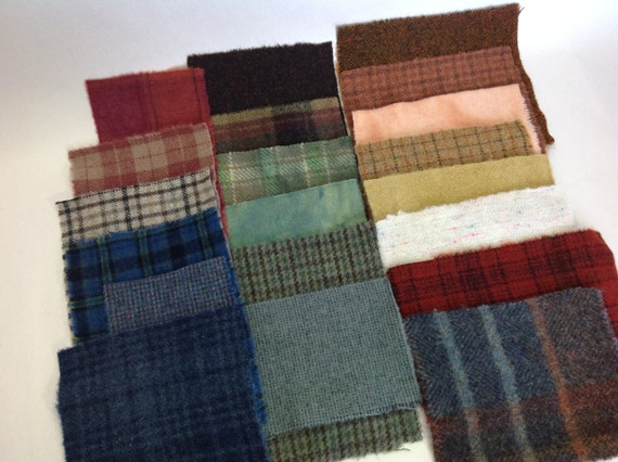 Country Colors Wool Scraps, 20 pieces, for Applique and Craft projects, W256, Textures, Plaids, Hand Dyed