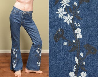vintage 90s 60s style flare jeans flower design 1960 1990 hippie bellbottom boho In Charge 100% cotton screen print jeans M size 7