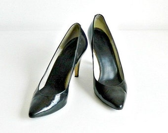 "Vintage Black Patent Leather Pumps, 1980s Italian Designer Bruno Magli High Heels, 3"" Spike Heels Size 7.5"