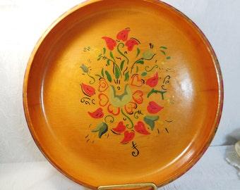 Vintage Hand Painted Shallow Wood Bowl, Folk Art, Rosemaling, Scandinavian Heart Floral Design