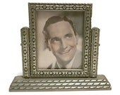 """Vintage 1930s swivel swing picture frame with original display photo of movie actor Fredric March, gilt silver wood for 3"""" x 4"""" photo"""