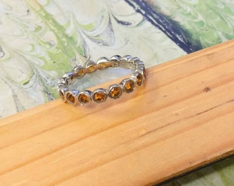 925 silver citrine eternity band, size 7 ring, citrine ring, eternity band, silver ring