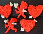Vintage Valentine Plastic Popcorn Wall Decorations Set of 5 Five Small Heart Arrow Cupid White Red Valentine's Day Melted Fused 1970's