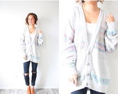 50% OFF SWEATER SALE Vintage light grey oversized boho sweater // cozy sweater grey cardigan // oversized cardigan / aztec navajo southweste