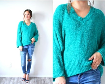 20% OFF HALLOWEEN SALE Vintage oversized turquoise/green oversized sweater // teal green knit sweater // large sweater dress // sweater dres