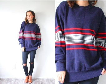 20% OFF HALLOWEEN SALE Vintage navy blue striped sweater // nautical sweater // boho sweater // red white striped sweater // Mod retro overs