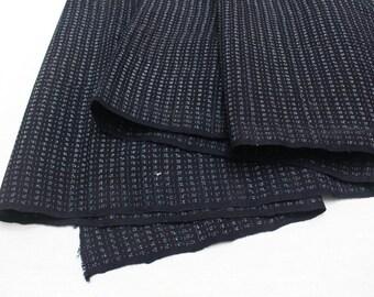 Hand Loomed Antique Cotton. Japanese Kasuri Kagasuri Ikat. Dark Indigo Blue Black. (Ref: 1598A)