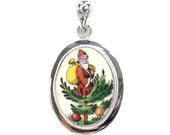 Broken China Jewelry Spode Christmas Tree Santa Sterling Silver Pendant
