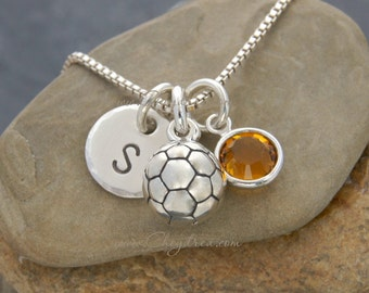 SOCCER PLAYER NECKLACE, Soccer Player Gift, Sterling Silver, Personalized Soccer Necklace, Athlete Graduation Gift, Soccer Coach Jewelry