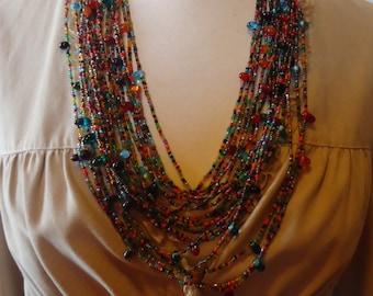 Vintage Multi Strand Multi Color Glass Beaded Necklace, Graduated Length