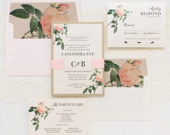 "Romantic Floral Wedding Invitations, Blush Rose Envelope Liner, Garden Wedding, Ivory, Blush, Gold - ""Ivory & Blush Floral"" Sample"