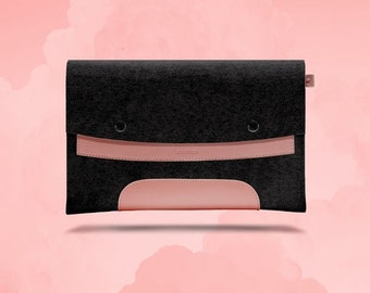 20%OFF Macbook Air 11 inches. Pink Leather & Black Wool Felt.