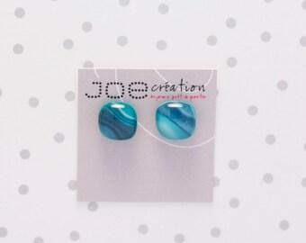 Boucles d'oreilles sarcelle et aqua en verre fusionné et acier inoxydable