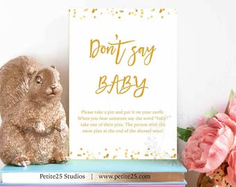 Don't Say BABY shower game, gold baby shower, Instant Download, printable game, baby sprinkle, gold foil