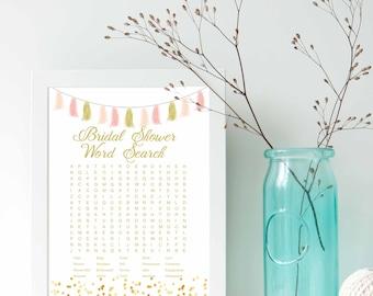 Pink Gold Tassel foil dots- Bridal Shower word search game, Wedding shower game, bridal shower game, shower game, gold foil, printable game