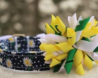 Dog Collar, Daisy Dog Collar, Polka Dot Dog Collar, Flower Dog Collar, Spring Dog Collar, Dog Collar Bow, Girly Collar, Summer Dog Collar